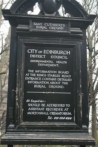 """St Cuthbert Burial Ground """"welcome sign"""""""